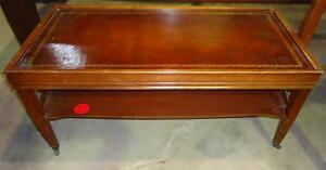 Small Rectangular Coffee Table With Faux Leather Inlay eBay