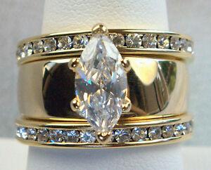 3 ring Marquise STUNNING Russian cz WEDDING ring SET 14K gold