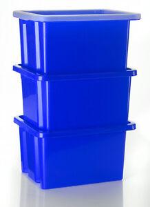 3 x stapelbox mit deckel aufbewahrungsbox kunststoffbox box boxen blau ebay. Black Bedroom Furniture Sets. Home Design Ideas