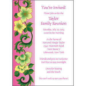 25 Personalized Family Reunion Invitations FRF03 Pink Floral eBay