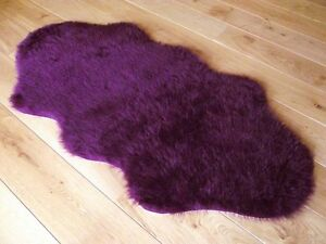 New Plum Colour Fluffy Bedroom Faux Fur Fake Sheepskin Rugs