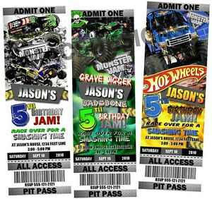Monster Truck Jam Birthday Party Ticket Invitations eBay