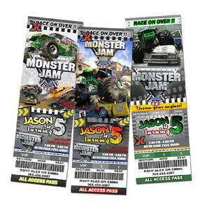 MONSTER JAM TRUCK BIRTHDAY PARTY INVITATION invite 1ST
