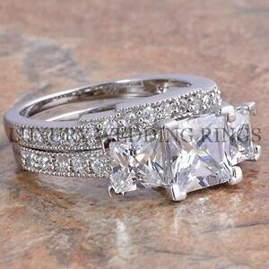 375Ct Princess Cut 3 Stone Engagement Wedding Ring Set Womens