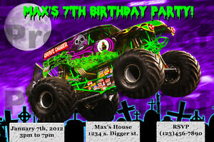 Grave Digger Birthday Party Invitations alesiinfo