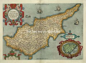 Abraham Ortelius Cyprus Lemnos Old Colour Cypriot Color Antique