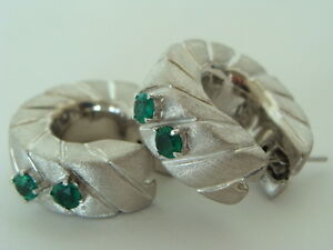 Designer EFFEDUE Hoop Colombian Emeralds Earrings 18K White Gold