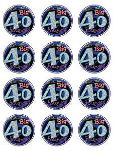 Big 40 40th Birthday Cake Edible Cupcake Toppers x 12 eBay