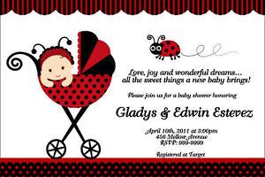 Ladybug Baby Shower Invitations UPrint 24hr Service 4x6 or 5x7 eBay