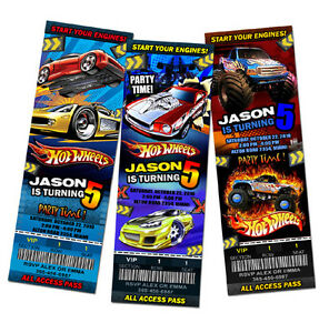 HOT WHEELS CARS RACE BIRTHDAY PARTY INVITATION TICKET 1ST