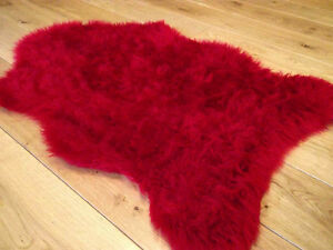 Ruby Red Rugs Fluffy Bedroom Rug Faux Fake Hairy Furry Fur