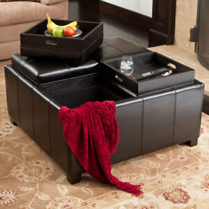 Black Leather Storage Ottoman Coffee TableCoffeTable