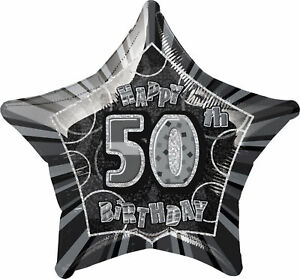 Black Silver 50th Birthday Helium Balloon Balloons Age 50 Party