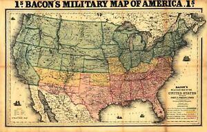 24x36 Vintage Reproduction Antique Civil War Bacons Military Map