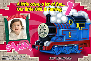 THOMAS THE TANK TRAIN 1ST BIRTHDAY PARTY INVITATION engine c4