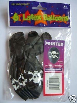 6 HELIUM BALLOONS - SKULL & CROSSBONES (Pirate Party)