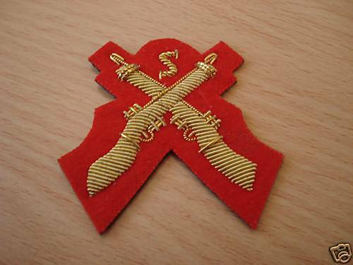 Snipers Cross Rifles, Sleeve Badge, Mess Dress, Red