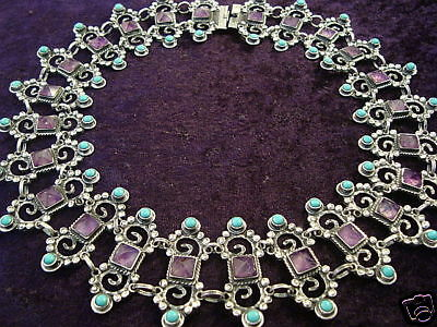 VINTAGE DESIGN TAXCO MEXICAN STERLING SILVER AMETHYST TURQUOISE NECKLACE MEXICO