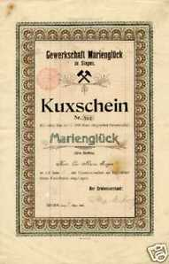 Marienglück zu Siegen histor. Kuxschein Gotha 1907 Erzbergbau Siegerland Bergbau
