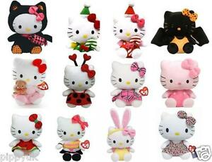 TY-HELLO-KITTY-BEANIE-BEANIES-CHOOSE-YOUR-6-034-SOFT-PLUSH-HELLO-KITTY-TOY-NEW
