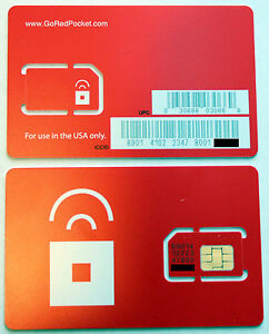 New-US-Prepaid-Red-Pocket-Mobile-Sim-Card-AT-amp-T-Go-phone-GSM-network-redpocket