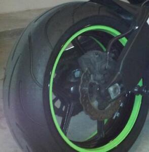kawasaki ninja lime green rim wrap stripes decals wheel