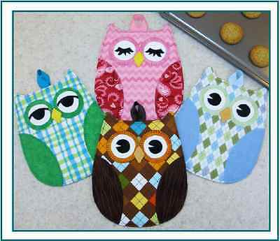 ~ NEW ~ FUN PATTERN ~ HOOTY HOOT PLACEMAT + OWL POTHOLDERS