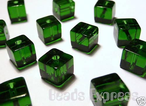 50 Crystal Glass Cube Beads- Dark Green 6mm (BC6015)