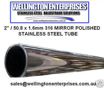 "1""/ 25.4 x 1.6mm 316 STAINLESS STEEL MIRROR POLISHED TUBE  MARINE GRADE"