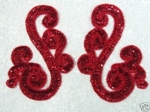 "0013 ~ APPLIQUES RED MIRROR PAIR SEQUIN BEADED  5.5"" 4000 items @ Glory's House!"