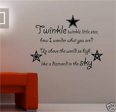 TWINKLE LITTLE STAR VINYL WALL ART STICKER QUOTE KIDS