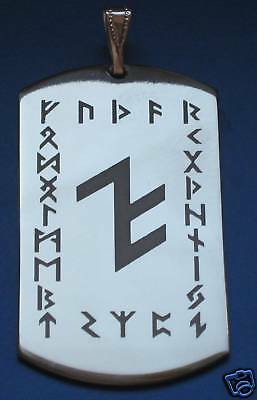 Amulett Edelstahl Schutzrune ALU im Runenkranz