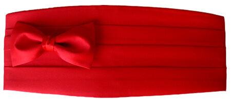 Bright SCARLET RED Satin Formal Tuxedo Cummerbund Bow Tie NEW Adult