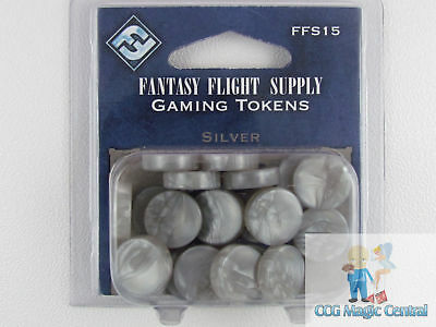 20 FANTASY FLIGHT SILVER GAMING CHIPS FOR POKEMON MTG