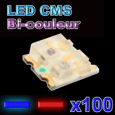 199/100# LED CMS 0605 bi-couleur rouge et bleu - 100pcs