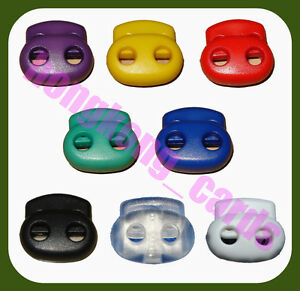 50-pcs-8-Color-Mix-Choose-Cord-Lock-Toggles-Bean-Two-Hole-Double-Stops-S024-NEW