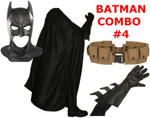 BATMAN-The-Dark-Knight-Rises-costume-cowl-cape-gloves-REAL-brown-utility-belt