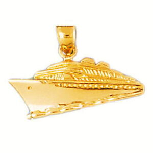 14k Yellow Gold Cruise Ship Pendant Charm Made In Usa