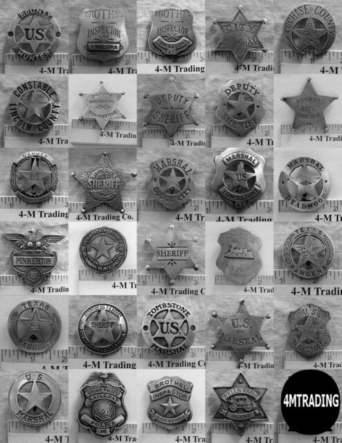 29 DIFFERENT BADGES (FREE SHIPPING) DEPUTY MARSHAL, SHERIFF,  (BADGES OLD WEST)