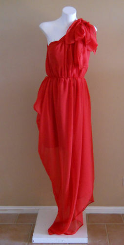 VINTAGE HARAH DESIGNS RED CHIFFON FULL LENGTH ONE SHOULDER DRESS