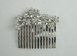Bridal-Wedding-Crystal-Hair-Jewelry-Accessory-Prom-Silver-Plate-Veil-Pin-Comb