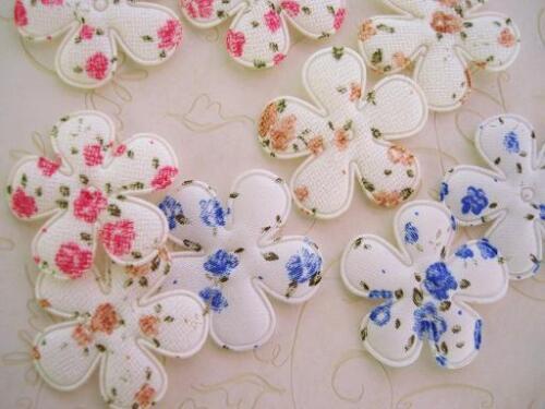 60 Vintage Rosebud Floral Print Flower Applique//red//beige//Trim//Sewing//Craft H536