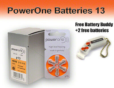 PowerOne Hearing Aid Batteries Size 13 + Free Battery Buddy