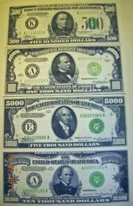 Replica-Currency-1934-4pc-500-1000-5000-10-000-Uncut-Sheet-US-Paper-Money