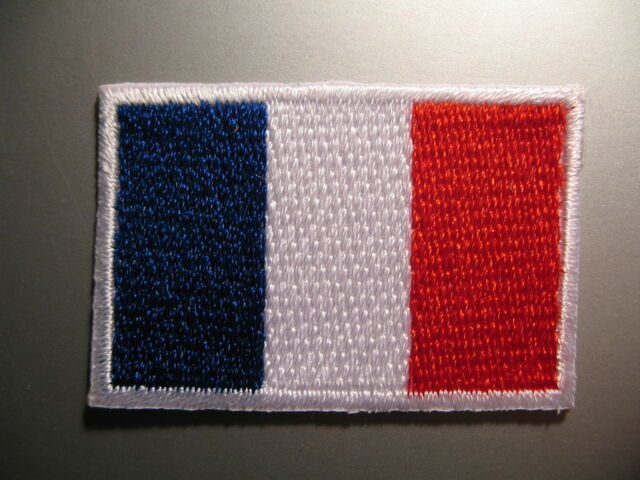French Flag Small Iron On / Sew On Patch Badge Appliqué Drapeau Français FRANCE