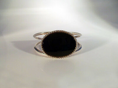 "Navajo Sterling Silver and Black Onyx Bracelet 6-1/2 ""C"""