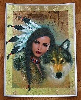 Indianer Alu-Bild INDIANERIN + WOLF, Country Western Saloon Deko,16x21 Alubild