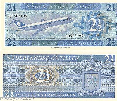 NETHERLANDS ANTILLES 2½ Gulden Banknote World aUNC Currency Money Pick 21a BILL
