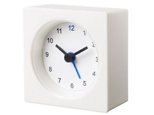 IKEA-White-Travel-Alarm-Clock-Battery-Operated-NEW