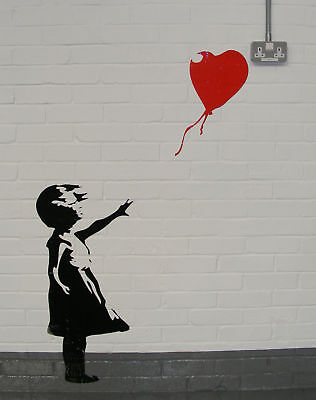 BANKSY Wall Art STENCIL GIRL WITH BALLOON S, M or L